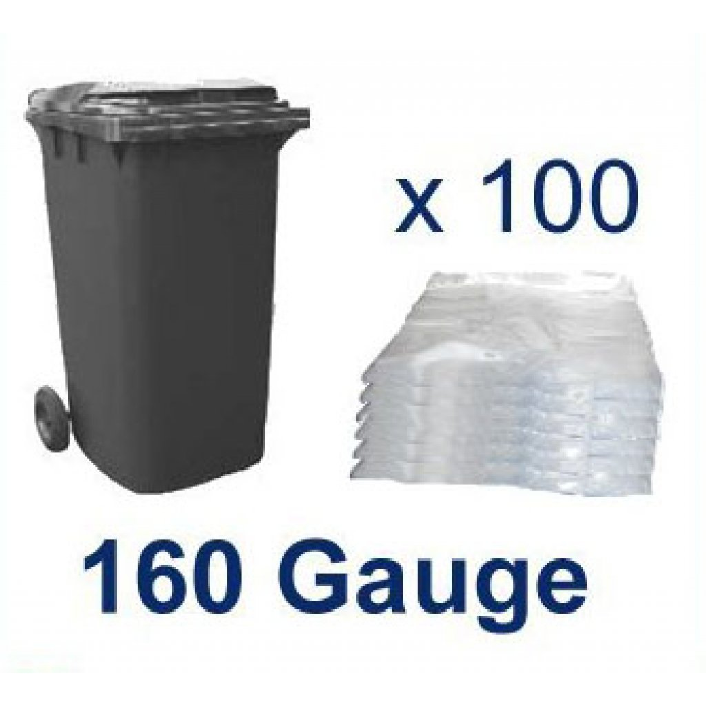 Clear Wheelie Bin Liners 160g Waste Bin Bags X 100 Easy